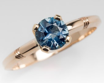 Teal Sapphire Engagement Ring - .79 Carat Montana Blue Green Sapphire Solitaire - Vintage 14K Yellow Gold Engagement Ring - WM11917