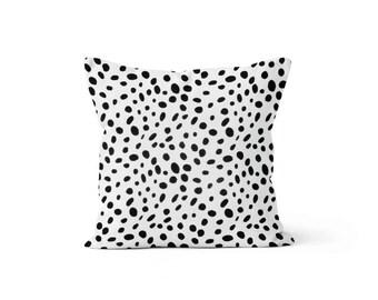 Black Dots Pillow Cover Spots - Togo Black - Lumbar 12 14 16 18 20 22 24 26 Euro - Hidden Zipper Closure