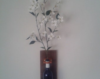Wall Sconce, Wall Vase: holds wine bottle for wall decor, rustic, wine-themed decoration, holds any flowers or oil candle wick