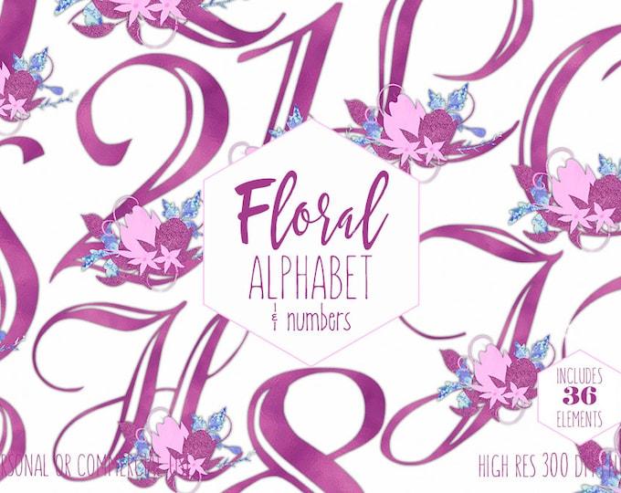 MAGENTA PINK FLORAL Alphabet Clipart for Commercial Use Baby Girl Monogram Clip Art Violet Foil Letters & Numbers Flower Digital Graphics