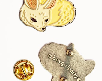 Enamel pin - FENNEC FOX brooch, mother gift ideas, natural jewelry, unique gift ideas, gift for her, enamel pins, animal brooch pin