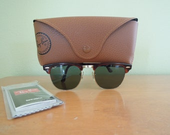 Vintage Ray Ban  Clubmaster Sunglasses Bausch & Lomb  Clubmaster Tortoise Shell Retro Authentic with Case