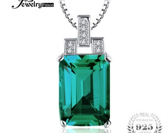 6ct Emerald Pendant 925 Sterling Silver Without Chain