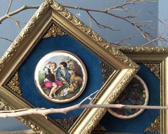 VINTAGE ART...2 small gold frames~rustic framed art ~ porcelain round gold leaf ~ wood