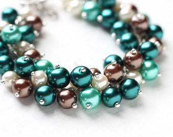 Teal Green, Brown and Ivory Bridesmaid Jewelry, Pearl Cluster Bracelet - Woodlands, For Teal Weddings