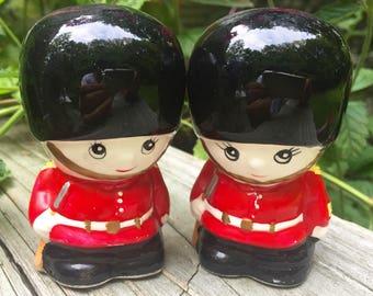 SALE Toy Soldier Salt Pepper Shakers Painted Vintage