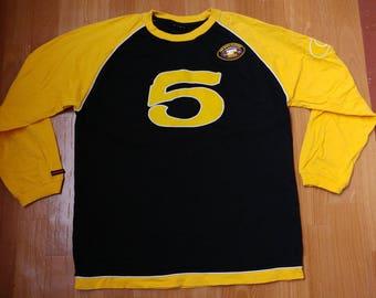FUBU jersey, vintage black Fubu t-shirt, longsleeve shirt, sweatshirt of 90s hip-hop clothing, 1990s hip hop, OG, gangsta rap, size M Medium