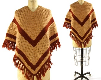 70s Fringed Poncho / Vintage 1970s Knit Chevron Shawl with Tassel Trim / Handmade One of a Kind OOAK Hippie Boho Bohemian Pullover Sweater