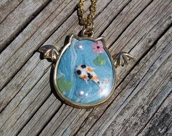 Bat cat Necklace, Koi necklace, polymer clay koi necklace, Koi jewelry, koi pond necklace, open bezel necklace, fish necklace, koi pond