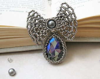 Gray bow brooch, beaded Romantic barocco medal, fashion exclusive handmade jewelry, OOAK, unique gift, trendy accessory, inspirational
