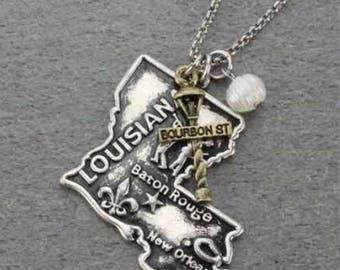State of Louisiana Necklace Silver w/Gold Tone