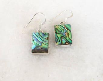 Abalone Silver Earrings, Paua shell earrings, Rectangle earrings, Abalone Earrings, Abalone Drop Earrings, Abalone Shell earrings, Sea jewel