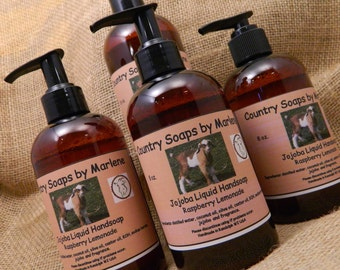 Raspberry Lemonade Liquid Hand Soap - Natural Body Wash, Kitchen Soap, Bathroom Soap, Jojoba Soap, refill size, 16 oz