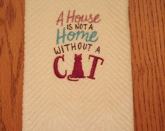 Embroidery Kitchen Towel-Cat