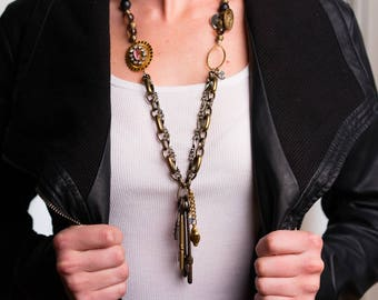 "Upcycled, Steam Punk Style, Long ""Curio"" Necklace"