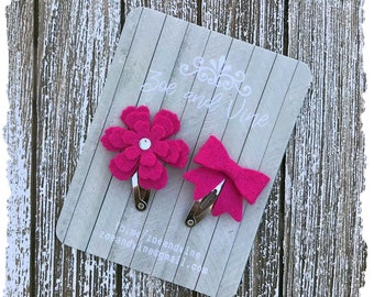 READY TO SHIP, Shocking Bright Pink Wool Felt Flower Mini Bow Clip Set, Baby Clips, Infant Girls Adult Mini Snap Clips