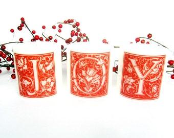 JOY Christmas Candle Set, Christmas Mantle Decoration, Holiday Candles, Red White Christmas Decoration, Set of Candles, Letter Candles,