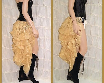 Shimmery Gold bright Lace Bustle Wrap adjustable OSFA showgirl dance wear MTCoffinz - All Adult Sizes
