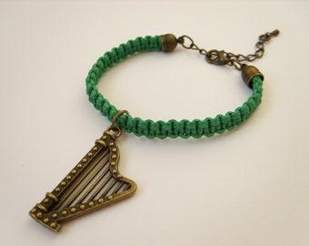 st. patrics day harp bracelet for her dark green irish macrame bracelet friendship bracelet braided jewelry