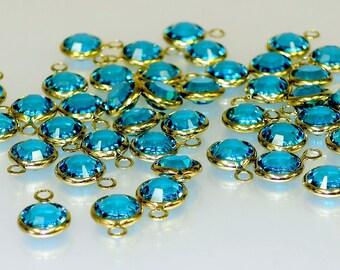 6 mm Blue Zircon Swarovski Crystal Bezel Drop - 2 for 2.00 - Bin #3
