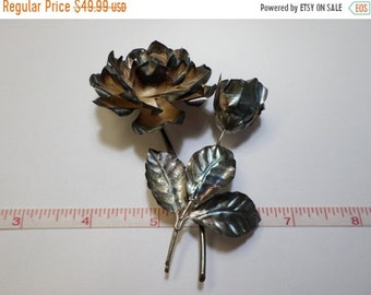 10%OFF3DAYSALE Beautiful Old VIntage, Hecho En Mexico 925 Sterling Silver Rose Brooch 21.1g - Used - Needs Cleaned