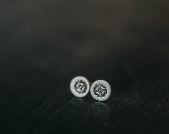Sterling Silver Art Deco Design Stud Earrings