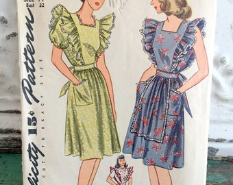 1940s Simplicity Pinafore Dress Sewing Pattern Size 14 Bust 32