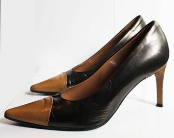 Shoes leather two-tone Brown and beige/EDMOND. K/made in Italy/100%cuir/Taille: 35.5/shoes with heel