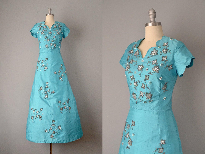 SALE: 60s Dress // 1960s Turquoise Silk Shantung Dress w/