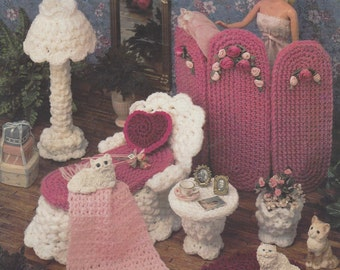 90s Victorian Boudoir Crochet Doll Furniture for Barbie and Doll Houses Annie's Fashion Doll Home Decor Crochet Collectors Guild  532B