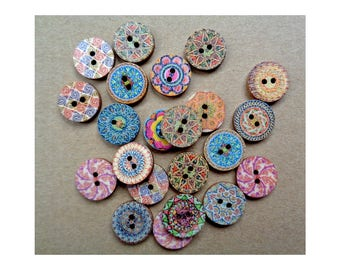 5 Wooden Paisley Mixed Buttons Painted Wooden Button 2-hole Button Buttons Craft Buttons Sweater Button Slipper Button Whimsical Buttons