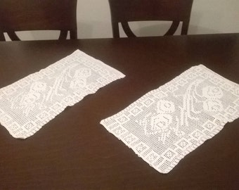 Set of 2 White Crochet Doilies Tablecloths 50 x 30cm. Free Shipping