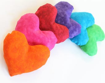 Rainbow Heart Shaped Bean Bags Lime Green Violet Pink Blue Red Orange Homeschool Shape (set of 6) - US Shipping Included