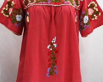 """Mexican Peasant Top Blouse Hand Embroidered: """"Lijera"""" Tomato Red + Multi Color Embroidery ~ Size MEDIUM"""