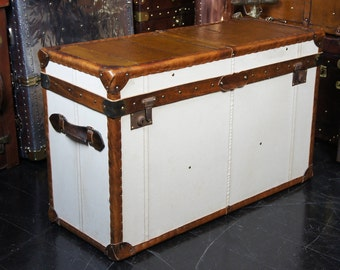 Vintage Sail Yacht Leather Topped Cabin Trunk