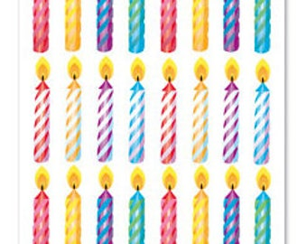 Metallic Foil Sticker, Birthday Candles