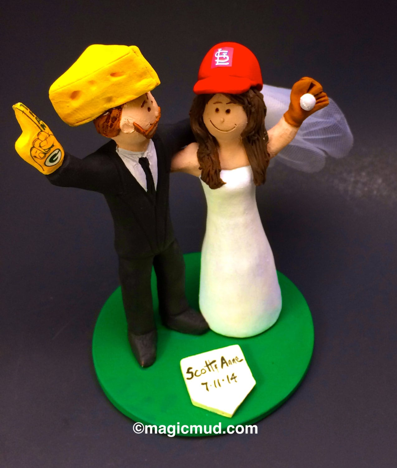 Green Bay Packers Cheesehead Football Wedding Cake Topper, St ...