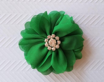 "Green Chiffon Flowers. 3"" Chiffon Flowers with Glass Rhinestone Center. QTY: 1 Flower  ~Brea Collection"