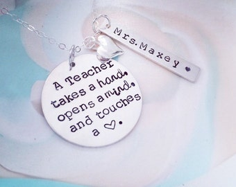 Teacher necklace, inspire, sterling silver necklace, Hand Stamped