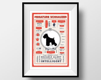 Miniature Schnauzer Dog Breed Printable, Digital Dog Infographic, Schnauzer Lover Gift, Vintage Style Letterbox Red/Sea Green