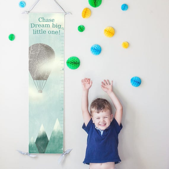 """Hot Air Balloon """"Dream Big"""" canvas growth chart"""