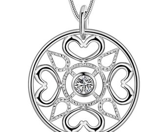 925 Sterling Silver Plated Round and Heart Shape Pendant with Sparkling Stone