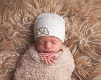 Cotton Stretch Baby Hat, Rhinestone Crown, Infant Beanie, Newborn Hat, Rounded top hat, Infant Beanie, Preemie Hat, Hospital Hat,First Bling