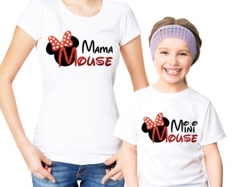 Mama Mouse and Mini Mouse Mothers and daughters white t-shirts set.