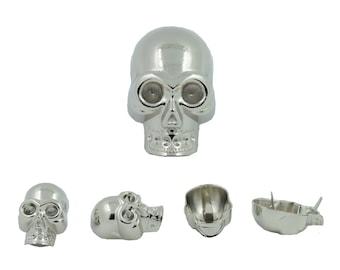 2 pcs.Zinc Silver Skull Head Rivets Studs Conchos Decoratives Findings 22x34 mm. SK N2234 111