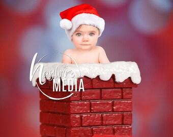 Newborn, Baby, Toddler, Child, Christmas Santa Brick Chimney Photography Digital Backdrop Prop for Photographers - Baby Portrait Session