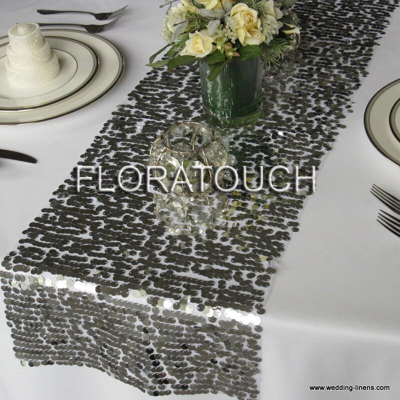 Silver Sequin Table Runner Wedding Table Runner