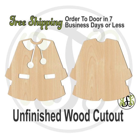 Christmas Coat Outline or Solid- 180085-86- Christmas Cutout, unfinished, wood cutout, wood craft, laser cut shape, wood cut out, wooden