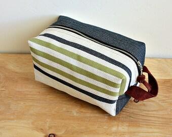 Striped Canvas dopp kit/ medium mens toiletry bag/ canvas pouch/ travel kit/ leather trim - ready