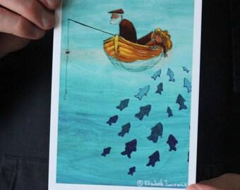 Fisherman and Granddaughter; Fine Art Print